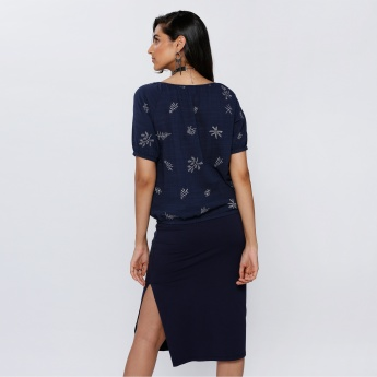 Bossini Embroidered Top with Tie-Up Neck and Short Sleeves
