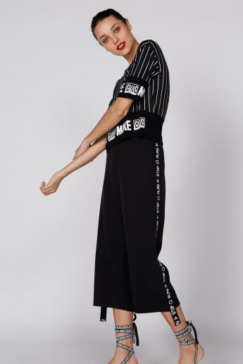 Tape Detail Culottes with Elasticised Waistband