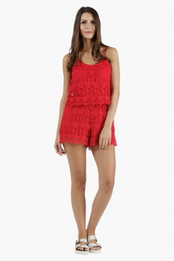 Lace Short Playsuit with Straps in Straight Fit