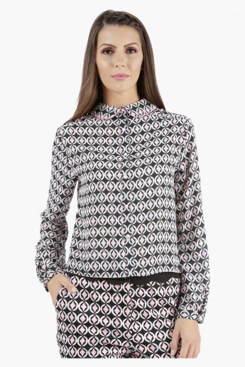 Cropped Shirt with Print in Regular Fit