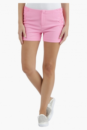 Shorts with Embroidered Details in Regular Fit