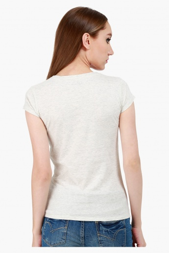 Printed Cotton T-Shirt with Round Neck and Cap Sleeves