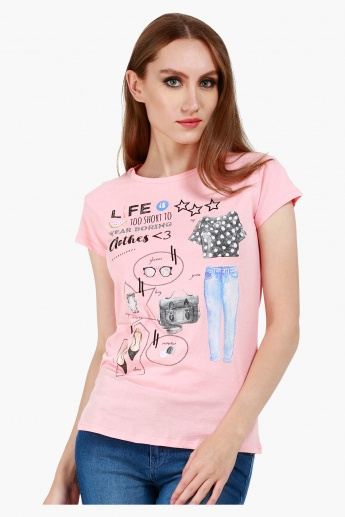 Graphic Print Cotton T-Shirt with Round Neck and Cap Sleeves