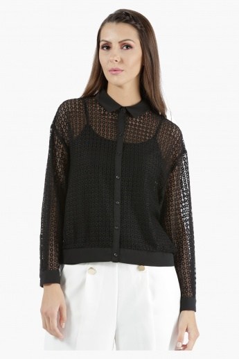 Cropped Lace Shirt in Regular Fit