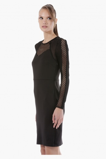 Bodycon Midi Dress with Mesh Sleeves in Regular Fit