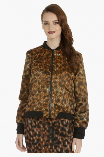 Printed Bomber Jacket with Long Sleeves
