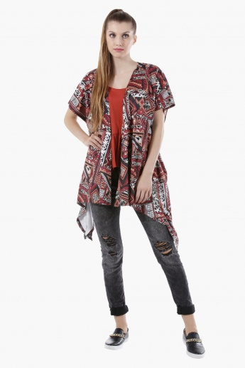 Strappy Asymmetrical Top with Flared Hem and V-Neck in Regular Fit
