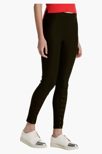Slim Fit Pants with Lace Detail on Front