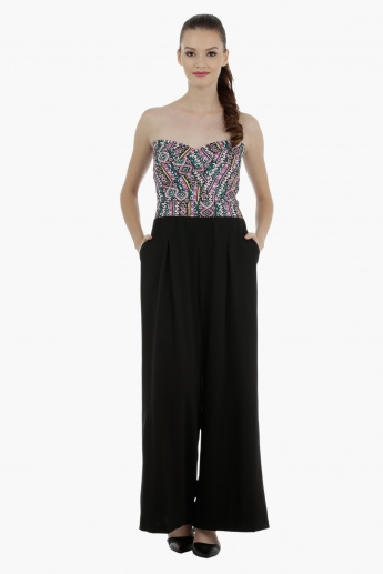 Bustier Jumpsuit Wth Flared Bottom