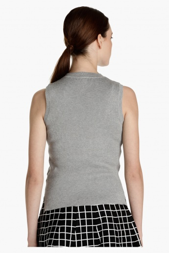Sleeveless Knitted Top with High Low Hem