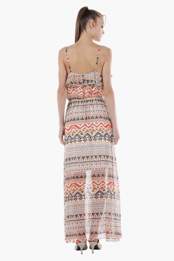 Layered Maxi Dress with Print in Regular Fit