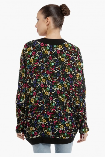 Floral Shrug with Bat Sleeves