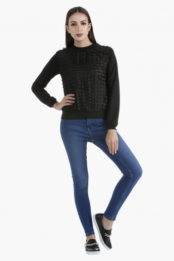 Long-Sleeved Sweatshirt with Fabric Sequins in Regular Fit
