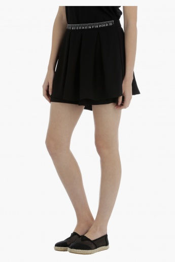 Pleated Skort with Embroidered Waistband