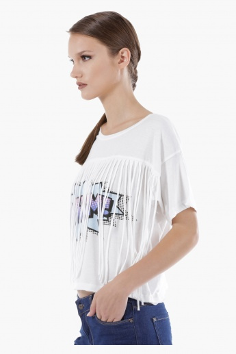 Graphic Print T-Shirt with Short Sleeves and Round Neck in Regular Fit