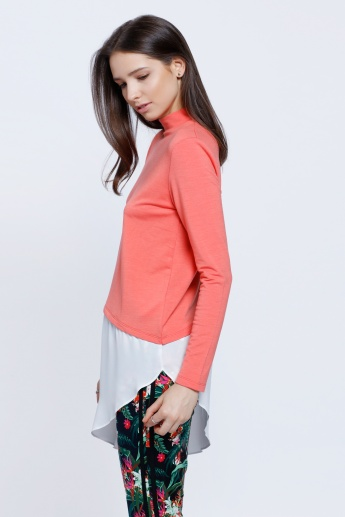 Double Layer Asymmetric Top with Turtle Neck and Long Sleeves