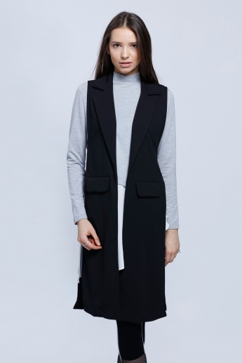 6d880da9503bd Sleeveless Longline Blazer with Notch Collar and Patch Pockets ...