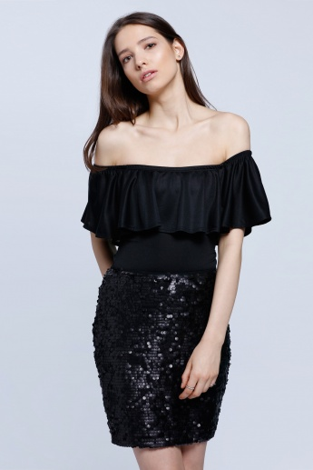 Solid Colour Off Shoulder Flare Top