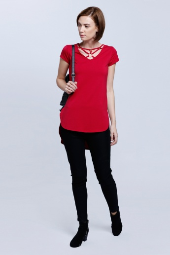 V-Neck Top with Strap Detail and Short Sleeves