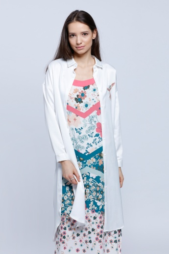 Printed Jacket with Long Sleeves and High-Low Hem