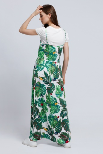 Printed Maxi Dress with Spaghetti Straps