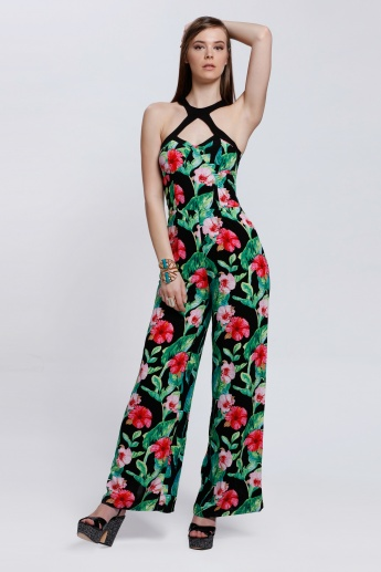 Printed Jumpsuit with Halter Neck
