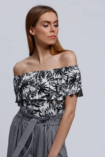 Printed Off Shoulder Bodysuit