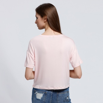 Round Neck Crop Top with Short Sleeves and Bandage Detail