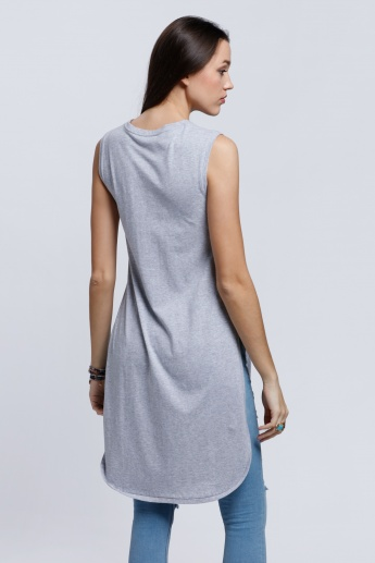 Longline Sleeveless T-Shirt with Crew Neck and Slits