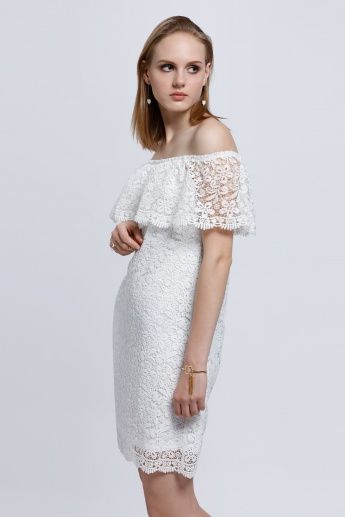 Off Shoulder Dress with Lace Detail