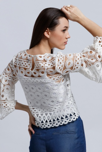 Lace Top with Boat Neck and Flared Sleeves