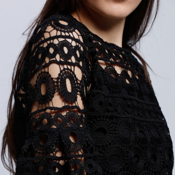Lace Top with Round Neck and Flared Sleeves