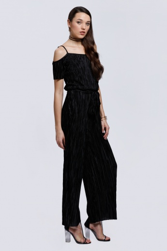 Printed Jumpsuit with Cold Shoulders