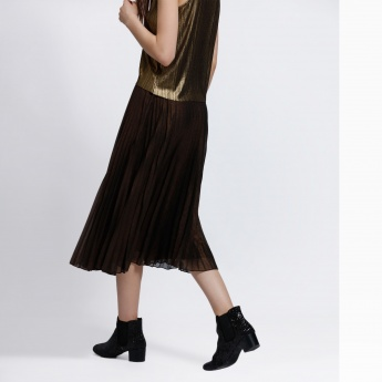 Knee Length Pleated Skirt with Elasticised Waistband