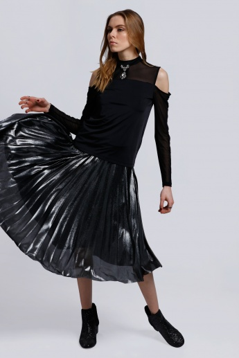 Pleated Midi Skirt with Elasticised Waistband