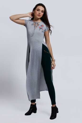 Embroidered Short Sleeves Tunic Top with Side Slits