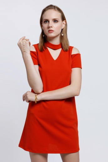 Cold Shoulders Dress with Mid Length