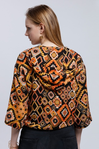 Printed Bomber Jacket with Hood and 3/4 Sleeves