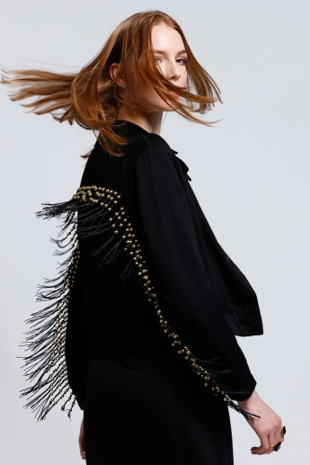 Beaded Jacket with Long Sleeves and Tassels