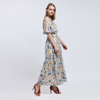 Printed Off Shoulders Maxi Dress
