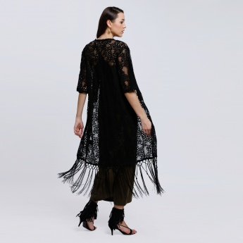 3/4 Sleeves Lace Shrug with Open Front