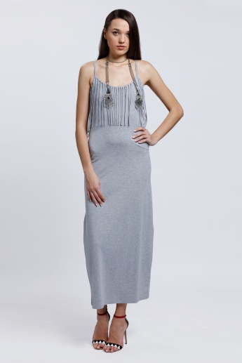Maxi Dress with Spaghetti Straps and Tassels