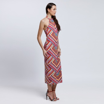 Printed Bodycon Dress with Halter Neck