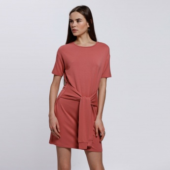 Round Neck Midi Dress with Short Sleeves and Tie Up