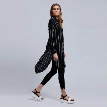 Striped Shirt Tunic with Long Sleeves