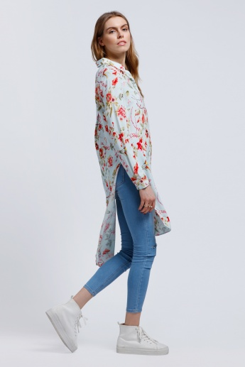Printed Shirt Tunic with Long Sleeves and High Low Hem