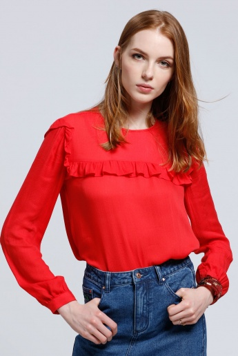 Long Sleeves Top with Round Neck and Frilled Detail