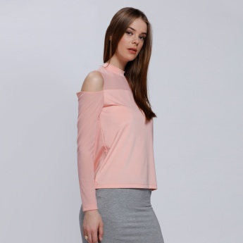 Round Neck Top with Cold Shoulders and Keyhole Closure