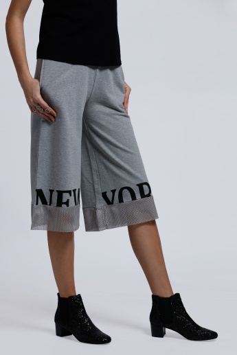 Printed Culottes with Mesh Panels