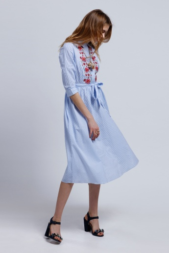 Embroidered Shirt Dress with 3/4 Sleeves